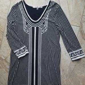Max Studio black white geometric design dress S